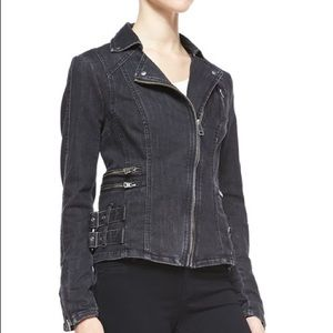 FREE PEOPLE black denim moto jacket size 6